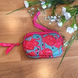 Lily Pulitzer flamingo coin purse with faux fur
